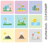 set of 9 simple editable icons... | Shutterstock .eps vector #1114104689