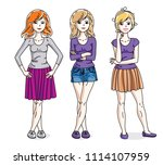 happy cute young adult girls... | Shutterstock . vector #1114107959