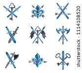 vintage weapon emblems set.... | Shutterstock . vector #1114108520