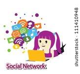 girl with social media | Shutterstock .eps vector #111410948