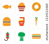 set of 9 simple editable icons... | Shutterstock .eps vector #1114111460