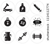 set of 9 simple editable icons... | Shutterstock .eps vector #1114112774