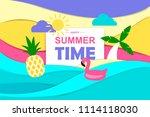 colorful cartoon summer banner... | Shutterstock .eps vector #1114118030