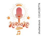 karaoke party invitation poster ... | Shutterstock . vector #1114128776