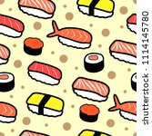 sushi doodle seamless pattern ... | Shutterstock .eps vector #1114145780