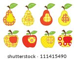 set of patchwork apples and... | Shutterstock .eps vector #111415490