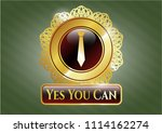 gold emblem with necktie icon... | Shutterstock .eps vector #1114162274