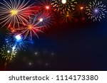 fireworks background with space ... | Shutterstock .eps vector #1114173380