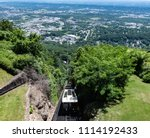 Chattanooga, Tennessee/ USA - June 6, 2018: Panoramic view of The Incline on Lookout Mountain looking down into the Tennessee River Valley. Built in 1895, this railway claims to be world