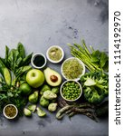 healthy green food clean eating ... | Shutterstock . vector #1114192970