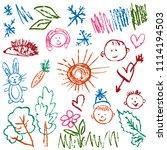 children's drawings. elements... | Shutterstock .eps vector #1114194503