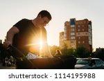 father dad with newborn pram...   Shutterstock . vector #1114195988