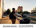 father dad with newborn pram...   Shutterstock . vector #1114195994
