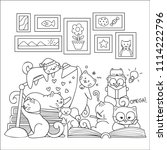 hand drawn cute cats reading... | Shutterstock .eps vector #1114222796