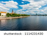 towers of riga and castle seen... | Shutterstock . vector #1114231430