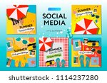 social media templates summer... | Shutterstock .eps vector #1114237280