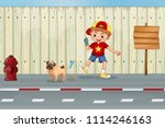 a good kid cleaning dog poo... | Shutterstock .eps vector #1114246163