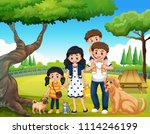 a happy family at the park... | Shutterstock .eps vector #1114246199