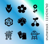vector icon set about gardening ... | Shutterstock .eps vector #1114246760