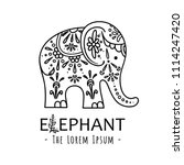 cute elephant with ornate... | Shutterstock .eps vector #1114247420