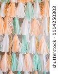 multicolored tassel garland.... | Shutterstock . vector #1114250303