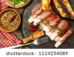 thinly sliced german black... | Shutterstock . vector #1114254089