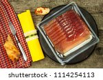 thinly sliced german black... | Shutterstock . vector #1114254113
