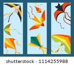 flying kite snake serpent...   Shutterstock .eps vector #1114255988