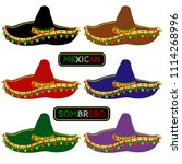set of multi colored mexican... | Shutterstock .eps vector #1114268996
