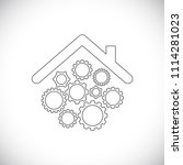 roof of house with gears...   Shutterstock .eps vector #1114281023