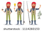 Fisher Cartoon Character  Set...