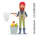 fisher cartoon character.... | Shutterstock .eps vector #1114283183