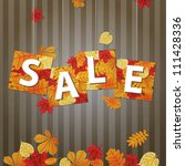 hanging vector sale with autumn ... | Shutterstock .eps vector #111428336