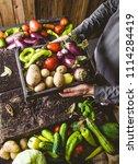 organic vegetables. farmers... | Shutterstock . vector #1114284419