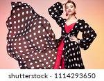 glamour fashion woman long... | Shutterstock . vector #1114293650