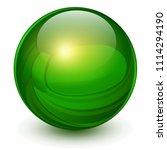 green sphere  3d vector ball. | Shutterstock .eps vector #1114294190