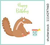 birthday card with cute... | Shutterstock .eps vector #1114297460