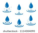 blue water drops icons set and... | Shutterstock .eps vector #1114304090