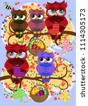 a family of colorful  bright ... | Shutterstock . vector #1114305173
