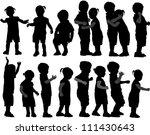 group of children's silhouettes | Shutterstock .eps vector #111430643