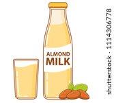 glass bottle of almond milk and ... | Shutterstock .eps vector #1114306778