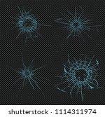 broken glass  cracks  bullet... | Shutterstock .eps vector #1114311974