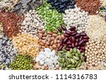 various kinds of natural cereal ... | Shutterstock . vector #1114316783