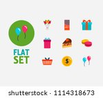 gift shop icons set. macaroons...