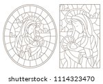 set of contour illustration in... | Shutterstock .eps vector #1114323470