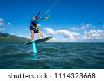 professional kiter t rides by... | Shutterstock . vector #1114323668