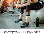 portrait of fitness woman  in... | Shutterstock . vector #1114327346
