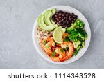 healthy seafood lunch. spicy... | Shutterstock . vector #1114343528