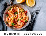spicy garlic chilli prawns... | Shutterstock . vector #1114343828