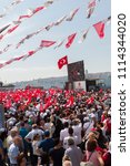 Small photo of ISTANBUL,TURKEY- 16 JUNE,2018:Turkey streets were decorated with flags by the political parties for the upcoming presidential elections.